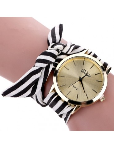 DUOYA D026 Women Analog Quartz Stripe Fabric Watch
