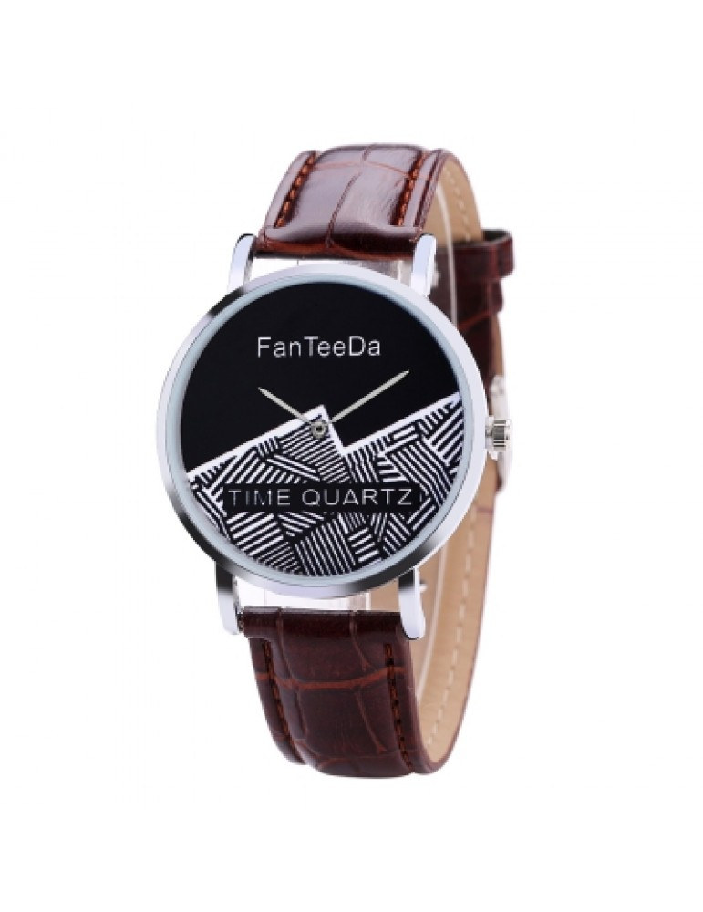 Fanteeda FD101 Men 40 MM Face Analog Quartz Leather Strap Wrist Watch
