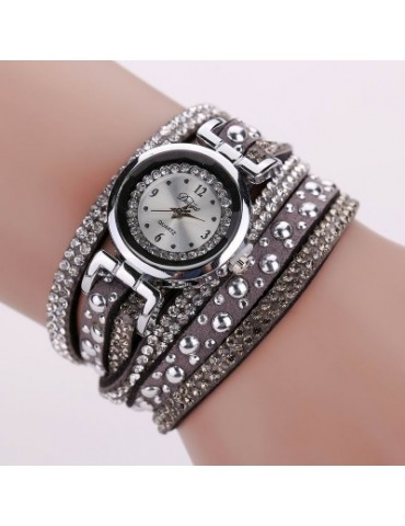 DUOYA D096 Women PU Leather Rhinestones Bracelet Wrist Watch