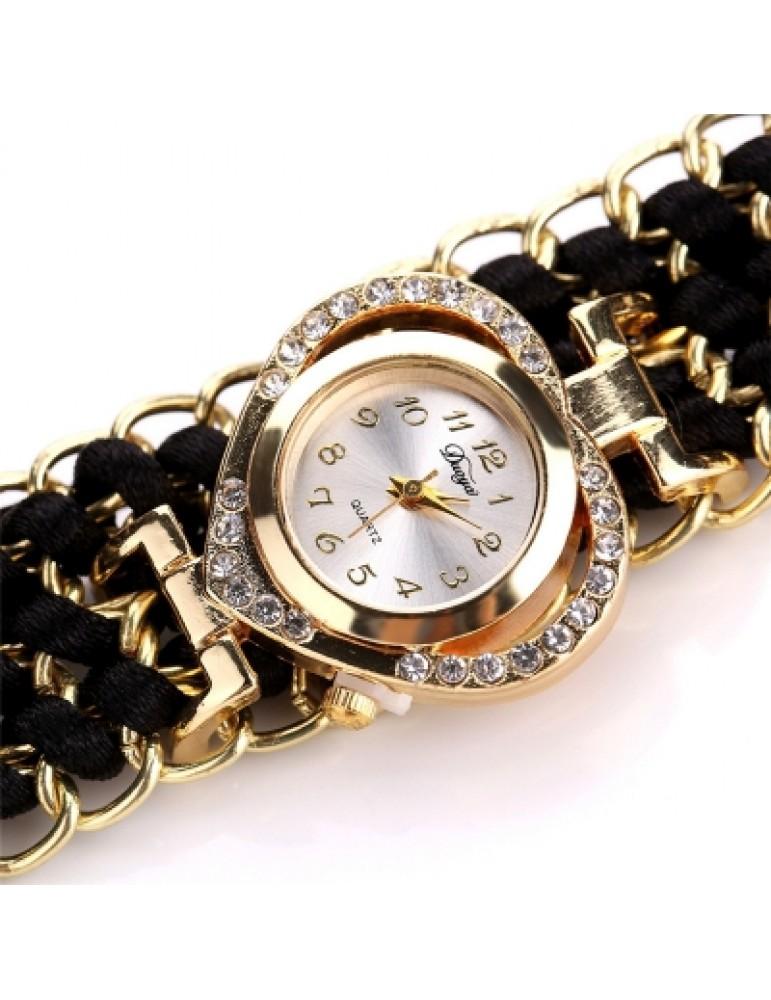 DUOYA D109 Women Heart Shaped Analog Quartz Metal Wrist Watch