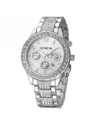 Fashion Lady Business Steel Belt Quartz Three Sub Dial  Watch