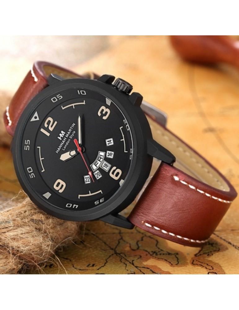 Hannamading 1602 4846 Fashion Double Calendar Men Quartz Watch with Box