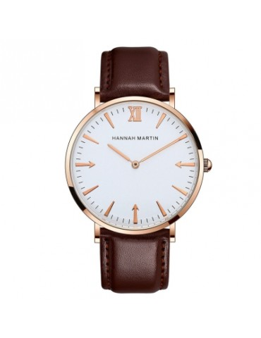Hannamading HM-JT 4856 Casual Two Needle Women Leather Band Quartz Watch with Box
