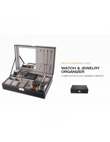 Multifunctional 8 Watch Box Jewelry Organizer